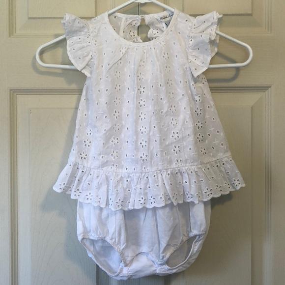 b71d4b4383 Ralph Lauren Baby Girl White Eyelet Outfit 24M NWT